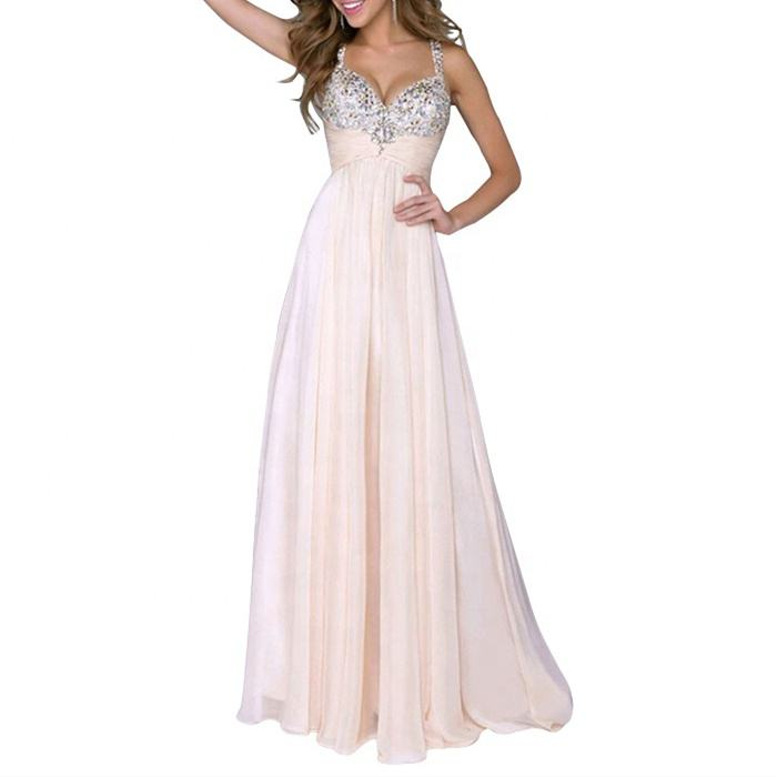 New Design Pink Sequined Chiffon Backless Wedding Bridesmaid Dress Patterns