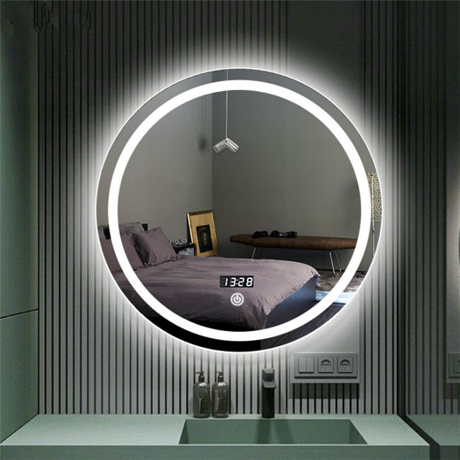 Touch sensor wall mounted oval mirror light bathroom round shape mirror