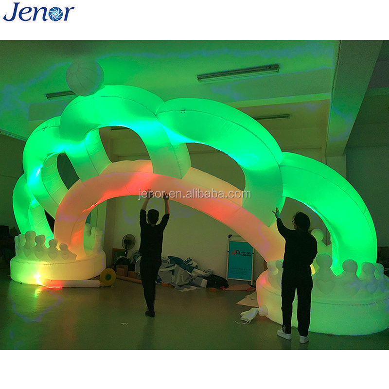 Giant colorful lighted inflatable crown arch door for wedding ceremony