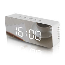 LED multi-function digital snooze display time table alarm mirror clock