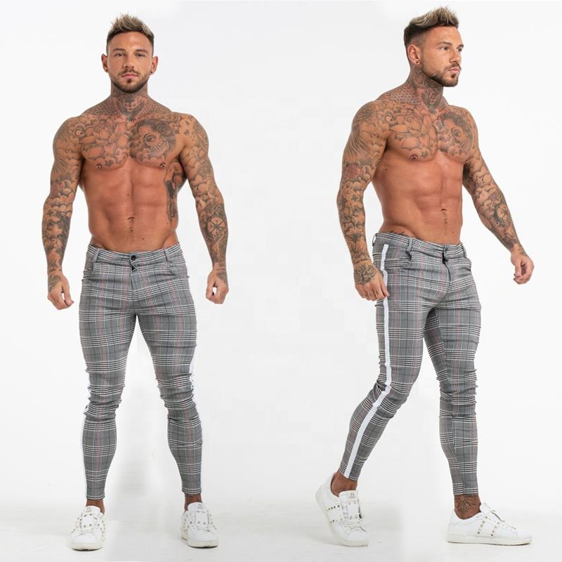 2020 Super Comfy Stretchy White Side Stripe Check Pants Slim Fit Chinos Trousers Men