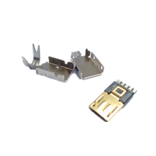 24k Gold plated Micro B USB 2.0 Male mounting Connector Plug Solder Type