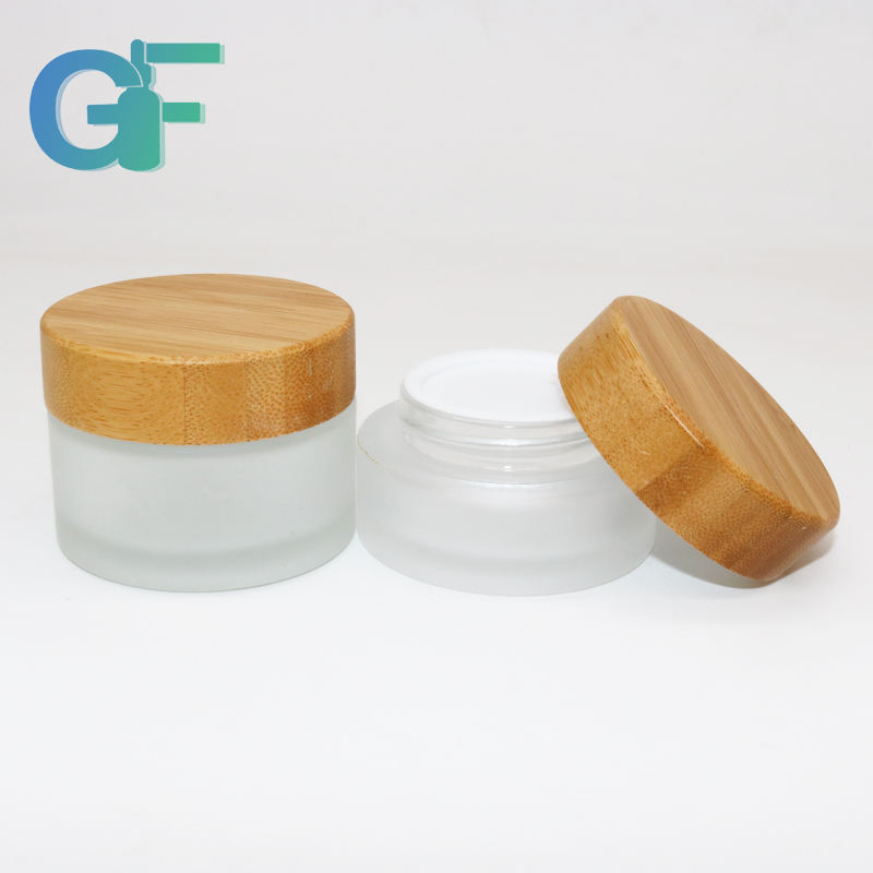 Frosted Lid Cosmetic Glass Jar With Bamboo Cap