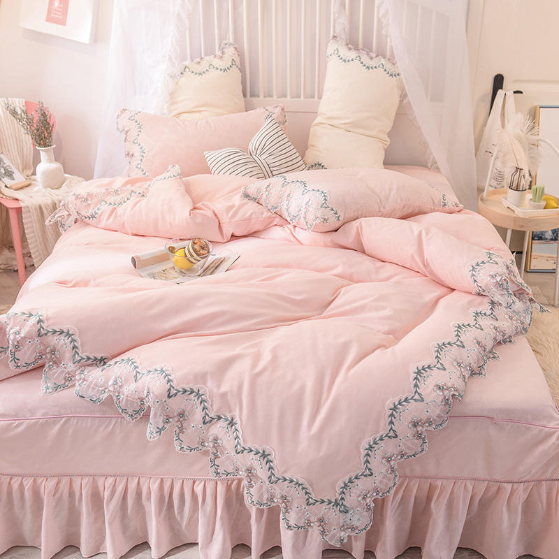 Factory direct princess wind lace quilt cover bed skirts bed linen wholesale 4 pcs bed sheet set