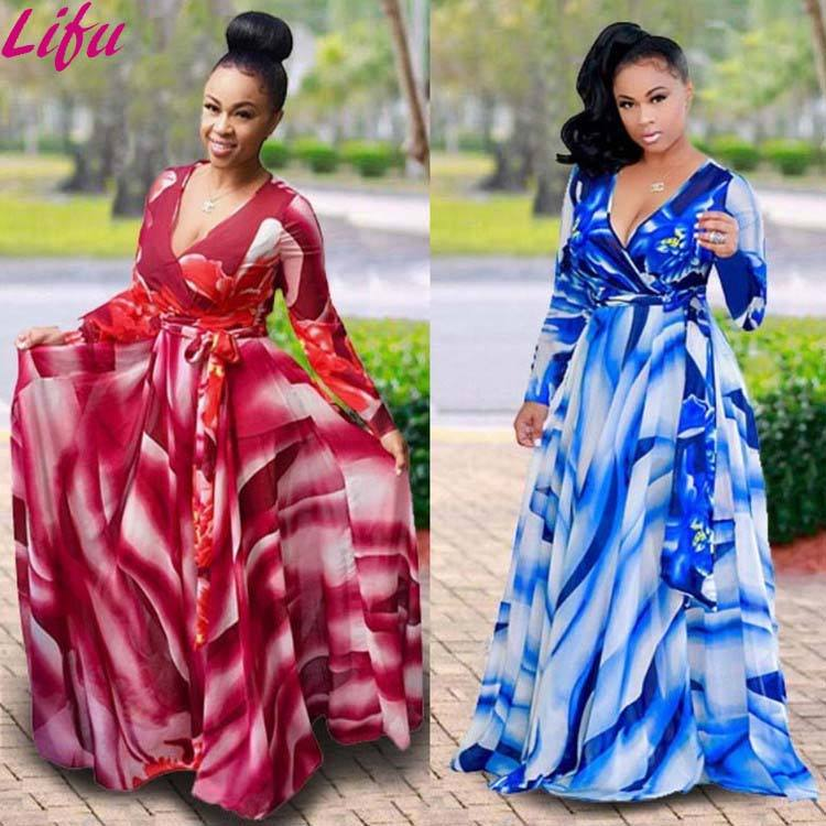 Lifu Women Dresses Casual Floral Print Long Sleeve Maxi Dresses Women Plus Size Dress Women Clothing 2019