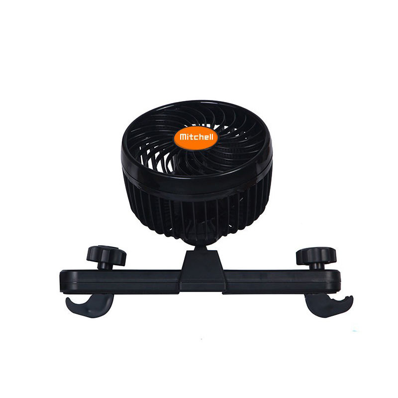 MITCHELL Stepless Speed Regulation Portable Car Seat Fan 360度Backseat Car Fan 12V/24V Cooling Air Fan