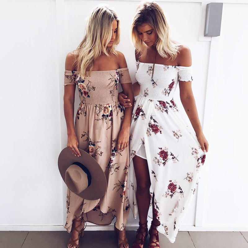 Sexy Women Fashion Short Sleeveless Bodycon Bohemia Loose Casual Wear Long Maxi Beachwear Dress