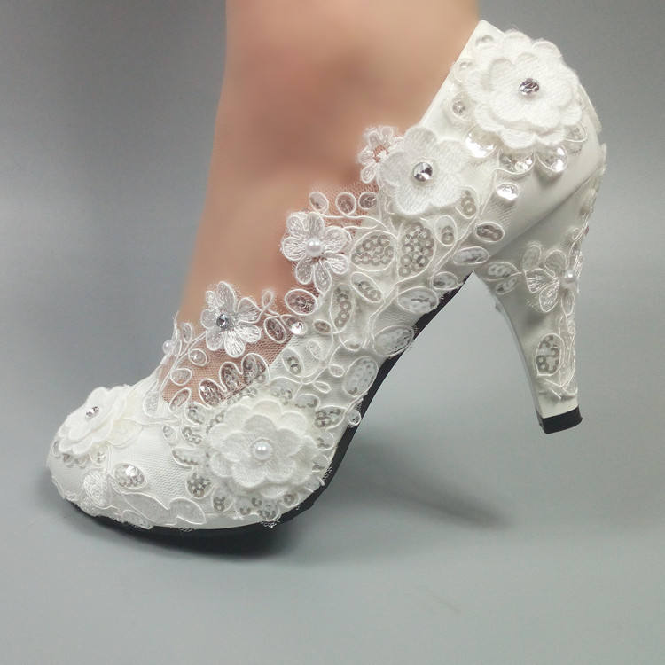 5cm 8cm 10cm top quality white color Square head flowers and lace women thin heel bridal wedding shoes MWSB31