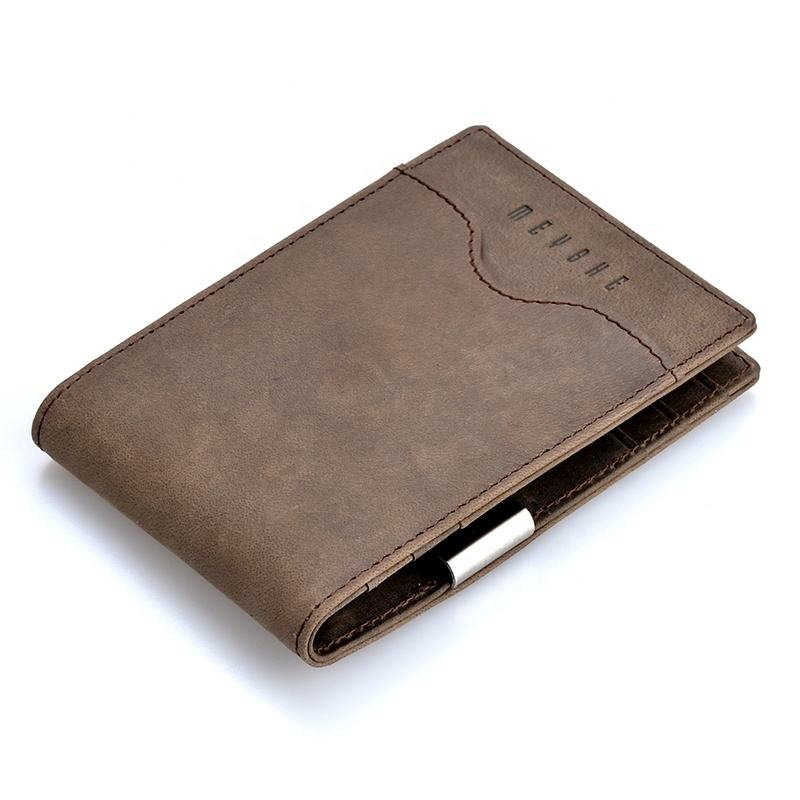 Factory price crazy horse leather high quality oem rfid money clip wallet for men