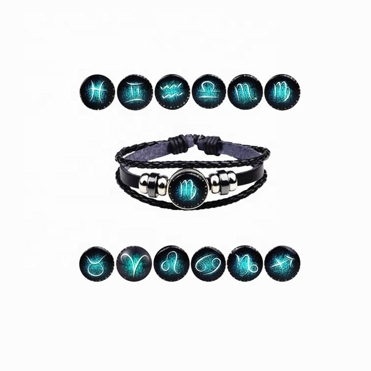 Unisex Gender 12 Constellations Signs Charm Leather Bracelet,Layers leather 12 zodiac bracelet