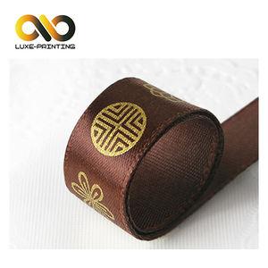卸売シルク印刷形成両面カスタマイズプリント黒ポリエステルサテングログランリボンとロゴ