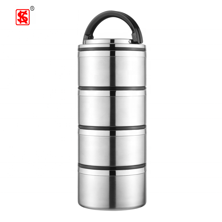 Stainless Steel 304 Vacuum Thermos Food Warmer Insulated Lunch Box 1-4 layers Takeaway food container with handle