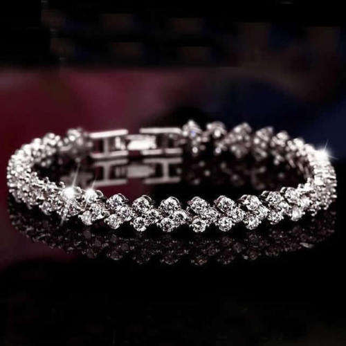 Wholesale White Gold Plated Alloy CZ Cubic Zirconia Charm Tennis Beaded Bracelets Women's Jewelry