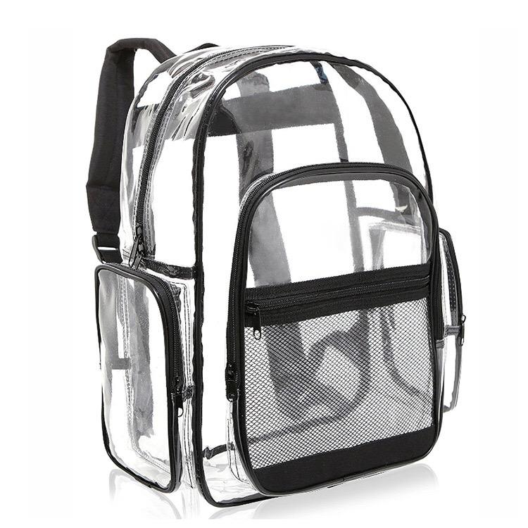 OEM durable waterproof transparent clear pvc 3 compartment laptop bag school backpack