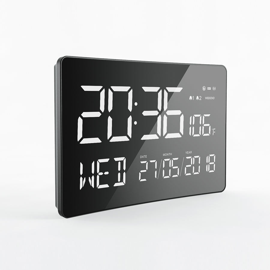 Large size three levels brightness control digital wall clock with thermometer