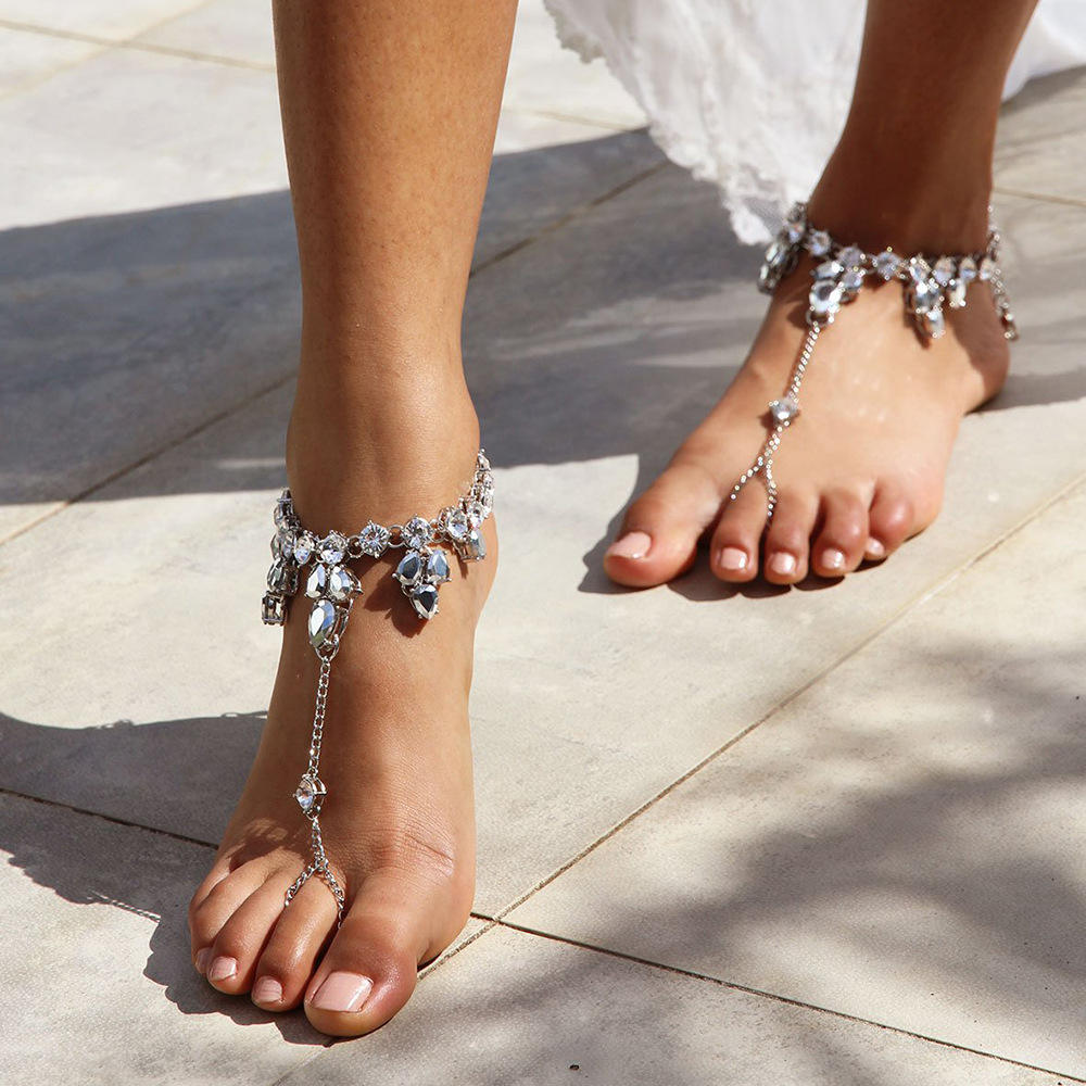 Sindlan Fashion Design Ankle Bracelet Crystal Anklet Barefoot Sandals Foot Jewelry Anklets For Women To Beach 1pc