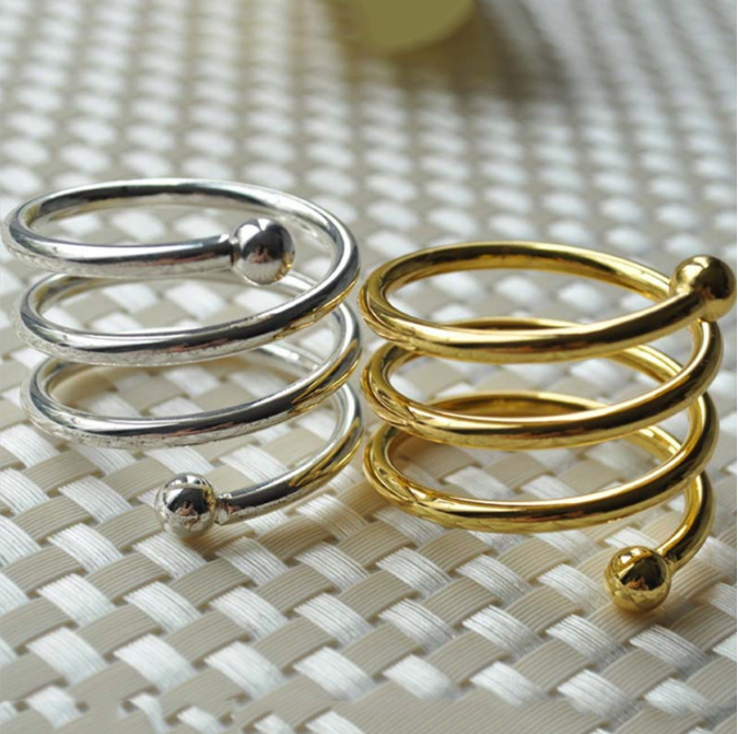Silver and Gold Decorative Alloy Napkin Rings for Wedding