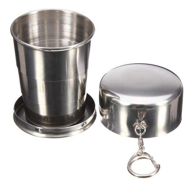 150ml portable retractable stainless steel collapsible metal cup collapsible cup with key chain for camping travel mug