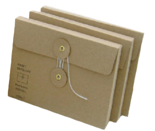 Custom envelope rigid recycled brown packaging envelope with string & button