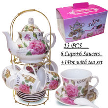 Unique 13 Pcs Fancy Restaurant Ceramic Porcelain Cup Saucer Teapot Sets