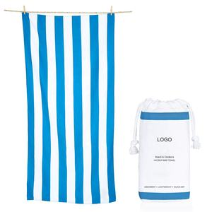 Amazon hot sell Quick Dry lightweight Absorbent Sand Free Microfibre printed sand free custom beach towel striped with Mesh Bag