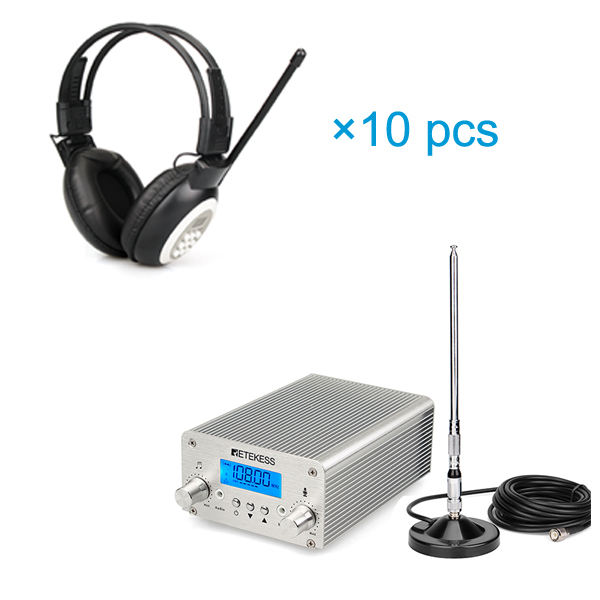 Wireless Broadcasting System FM Transmitter + 10 Headphone radio station for Church Meeting Translation