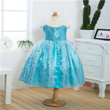 Sequin kid party dress for 10 years old     fashion girl summer dress      blue flower girl  wedding  dress