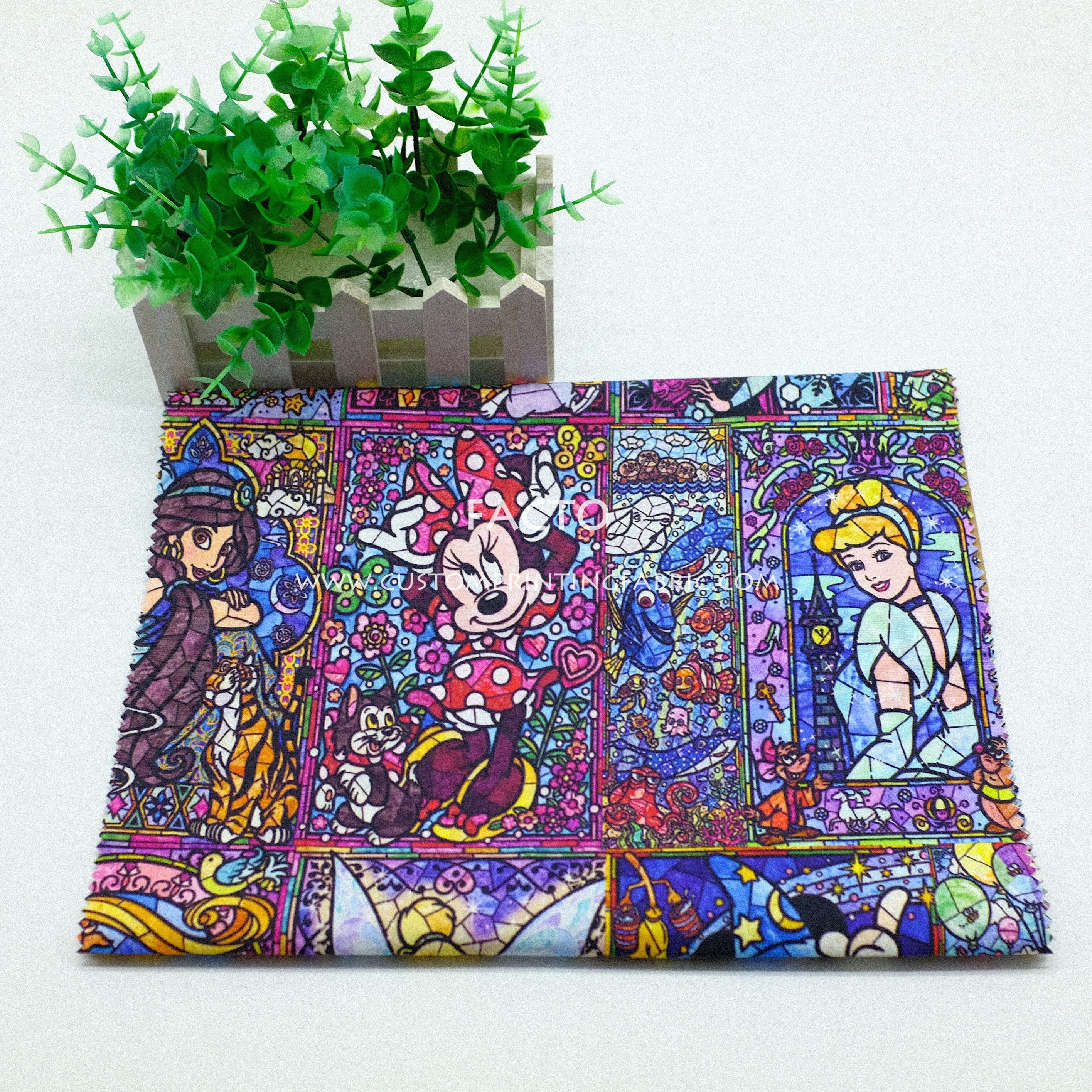 Wholesale 100%cotton 150GSM cartoon digital printing fabric for garment