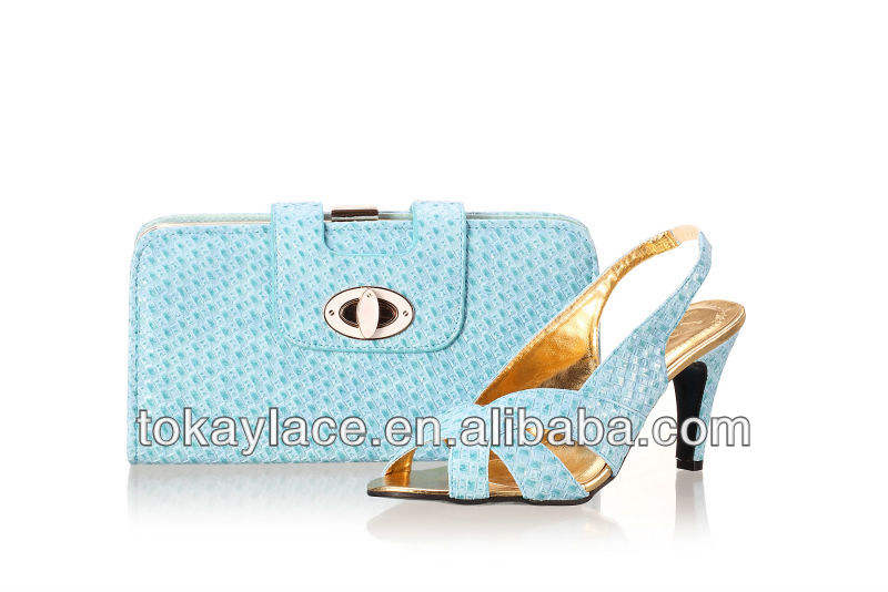 2013 for sale wholesale woman evening party and wedding sky blue Italian shoe and bag