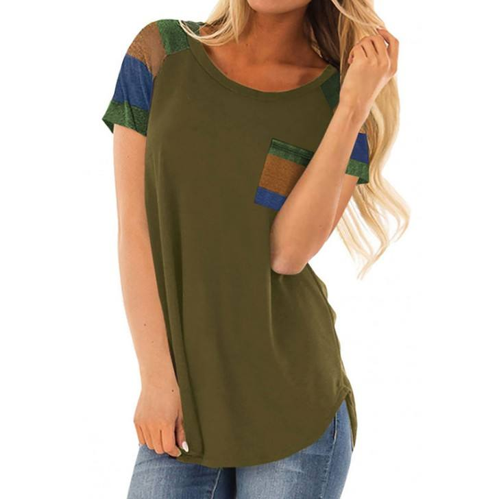 Women's Basic O Neck T Shirt with Suede Pocket
