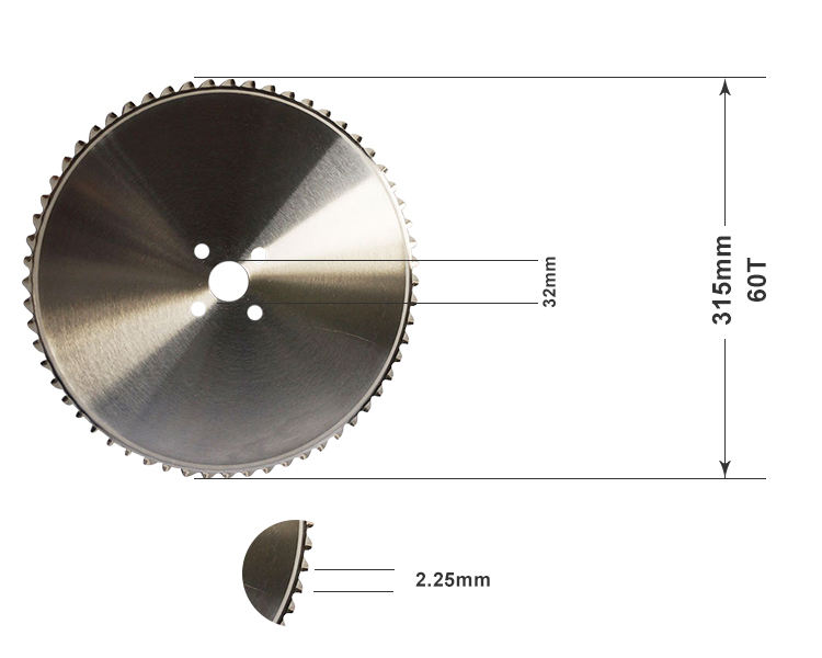315*32*2.25, Z=60 Metal cold cutting saw blade, metal cutting circular saw