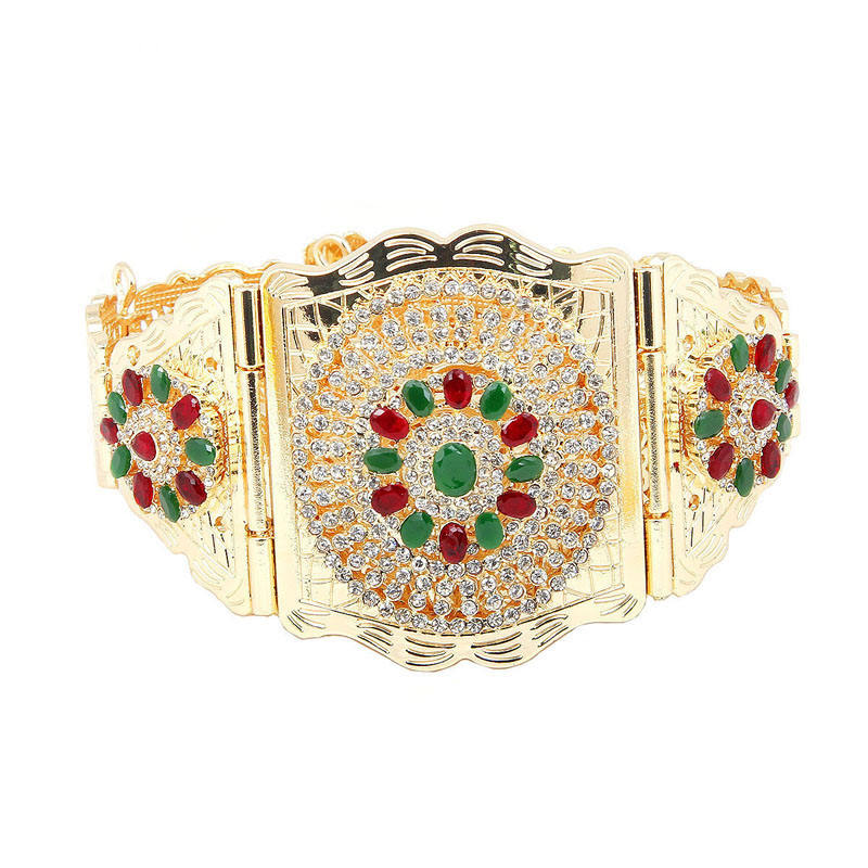 Traditional Moroccan Chic Caftan Belt For Women Luxury silver Plating Bridal Waist Band With Colorful Rhinestone