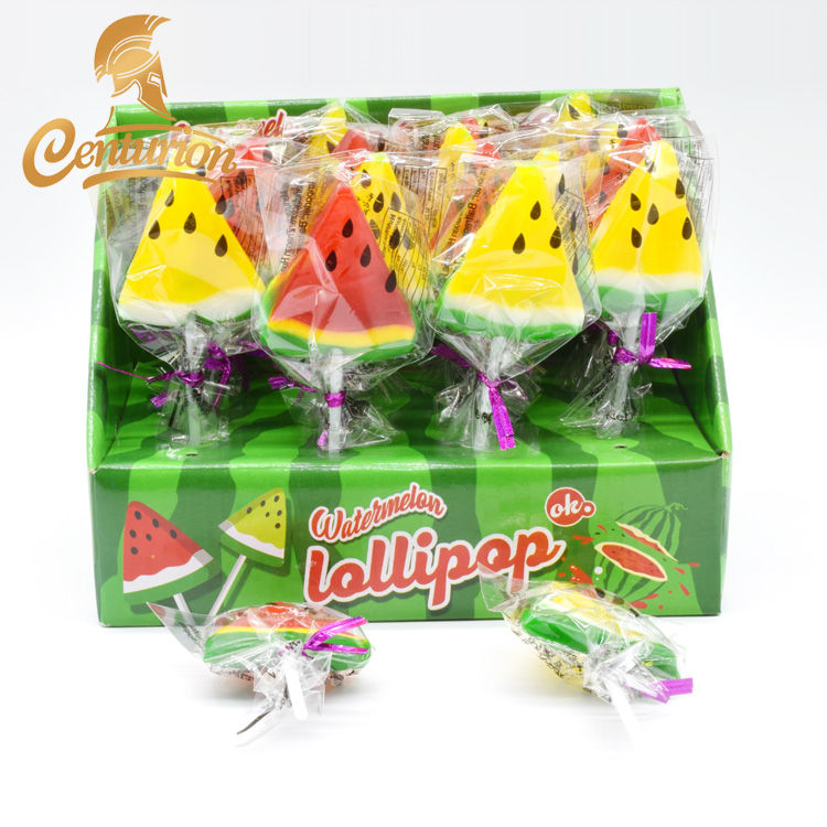 Hot Koop Kleurrijke Fruit Vorm Zoete Hard Candy Lolly in Display Box