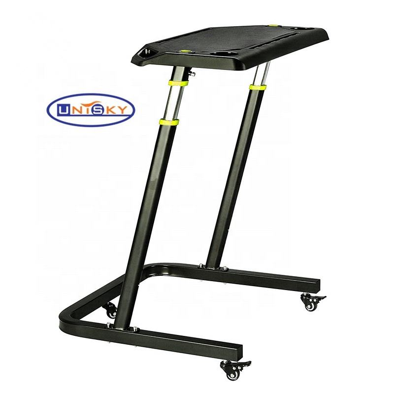 Height adjustable turbo cycle trainer table desk with wheels for ipad/PC