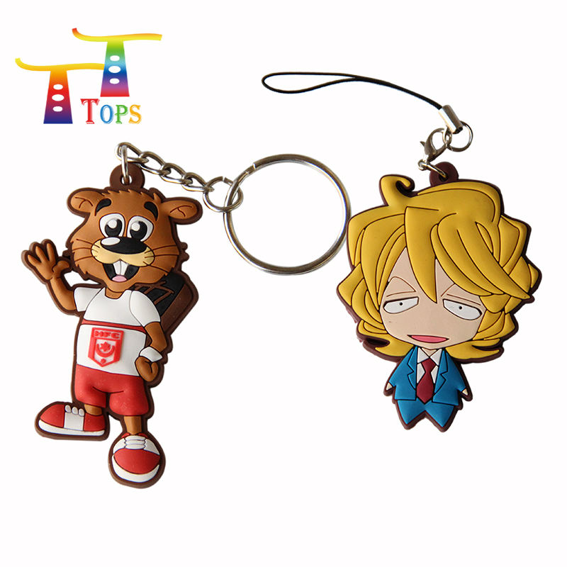 High Quality Custom 3d Soft Chain France Keychain Smart Animal Key Ring Sample Free