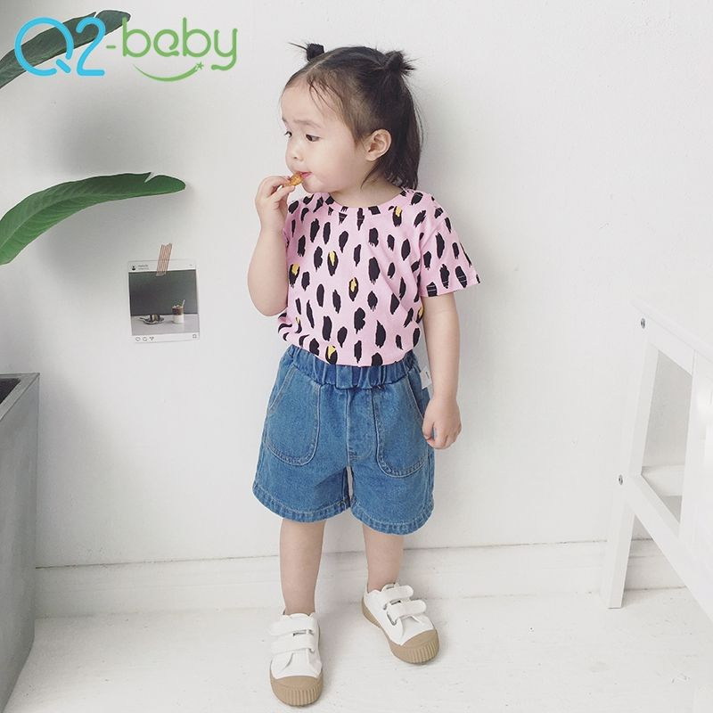 Wholesale summer new wear leopard t-shirt boy and girl baby cotton print tops