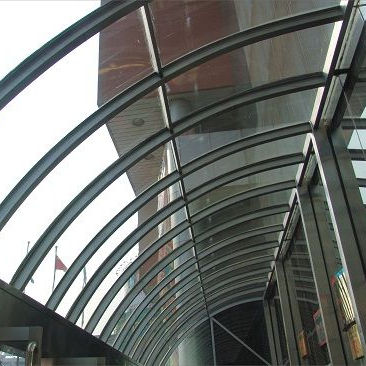 Curved exterior glass curtain wall system for building glass