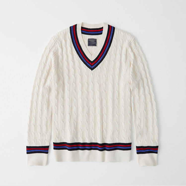 New Design Custom Logo V 넥 Cable Knit Striped 도매 <span class=keywords><strong>크리켓</strong></span> 스웨터