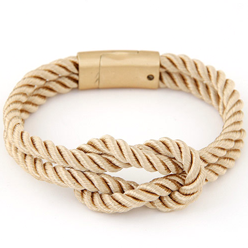 Europe fashion bracelet with braided rope and buckle magnet