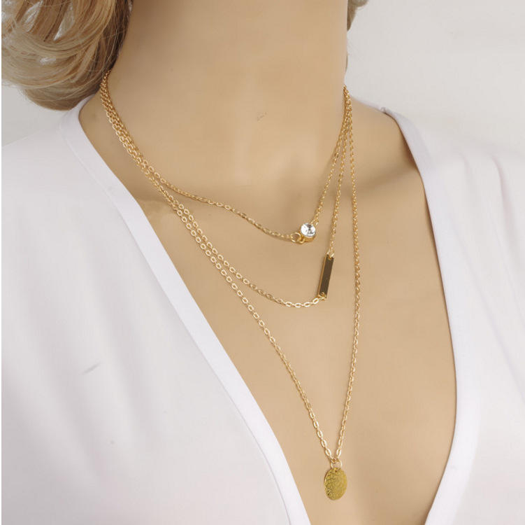 Women Fashion Jewelry Necklace Simple Gold Silver Multilayer Punk Crystal Round Sequins Necklace (KNK5088)