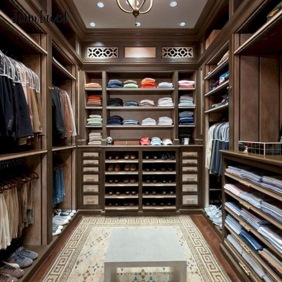 Ready to ship man wooden clothing furniture design walk in closet built in the wall wardrobe