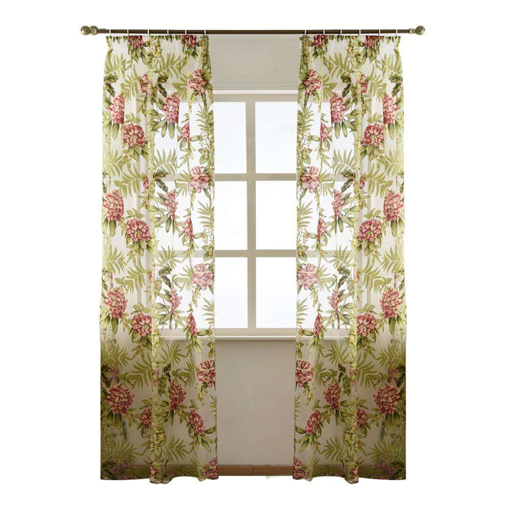 NAPEARL wholesale villatic style floral printed drapes fabrics sheer curtains for living room