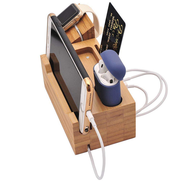 Amazon Hot Selling Storage Desk Bamboo Wireless Charger Organizer Wooden Charging Station
