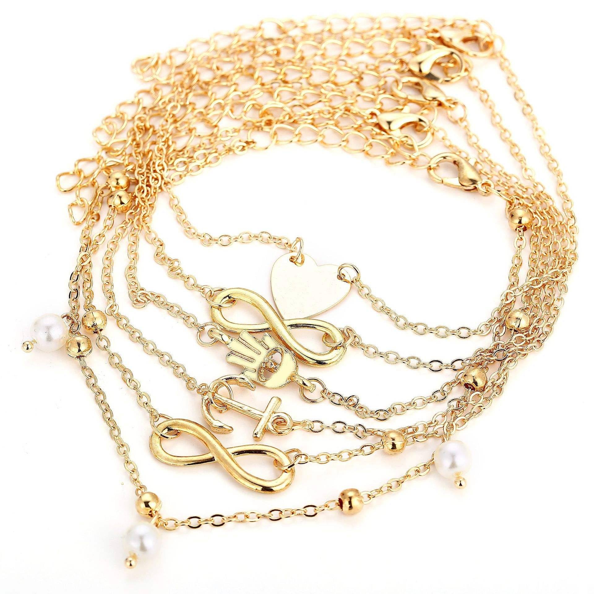 Hot selling peach heart anchor head pearl alloy anklet jewelry 5 pcs/sets mix and match foot chain
