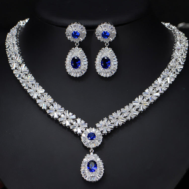 Wholesale Zircon Bridal Design Fashion Jewellery Dubai Gold Necklace Wedding Jewelry Set