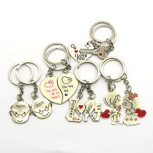 Wholesale Metal Heart Lovers Pendant Heart Key Ring Mens Key Chain