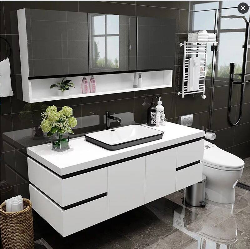 New Marble Wash double basin bathroom vanity furniture cabinets mirror with lights antifrog bluetooth function