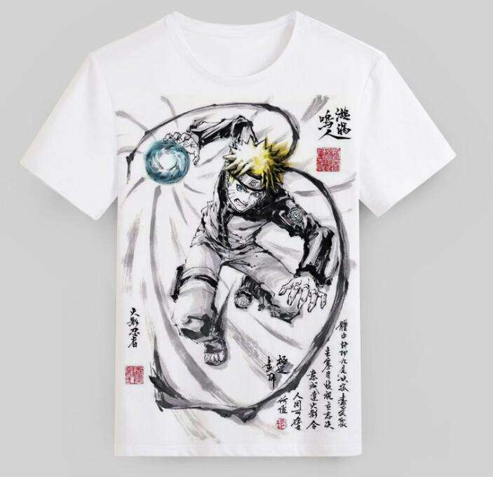 ecowalson Naruto Akatsuki Cloud T shirt Sasuke Itachi Madara Anime Cosplay White Top Mens