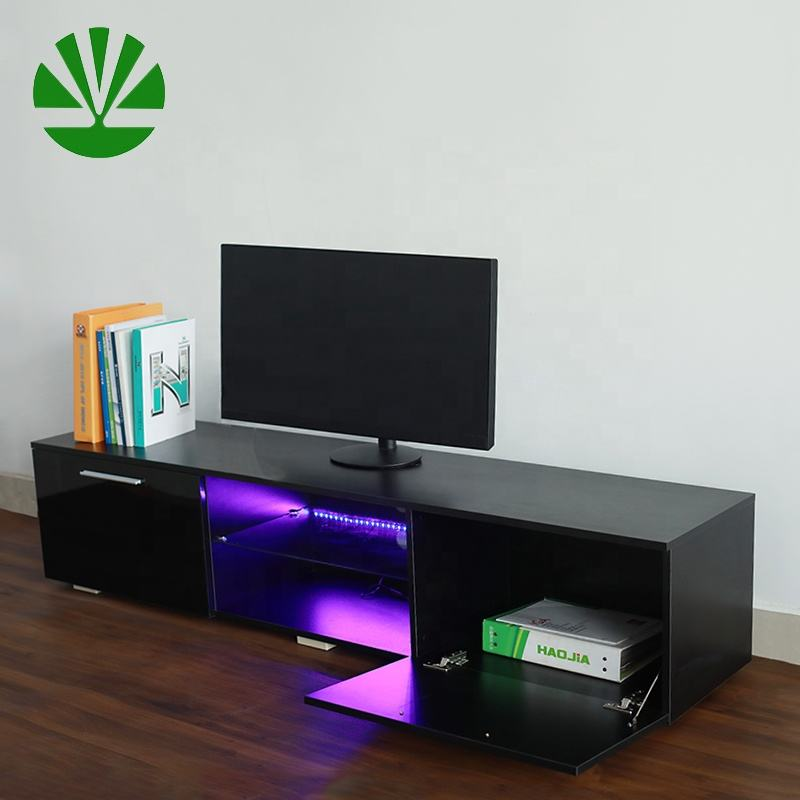Professional manufacturer modern showcase wooden panel lcd tv stand furniture with high glossy