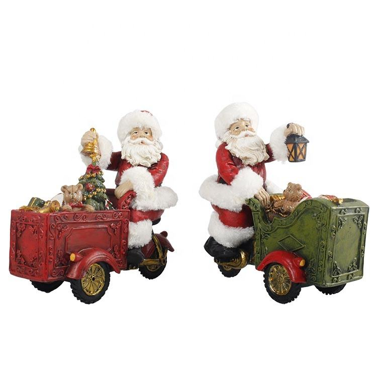 Holiday decor Polyresin Santa Driving Vintage Car Figurine with Christmas Gifts LED Lights
